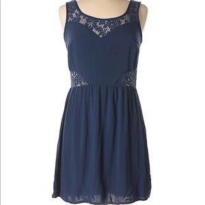 Casual cute navy blue lace fit and flare dress 💙
